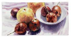 Bath Towel featuring the painting Passion Fruits And Pears 2 by Joey Agbayani