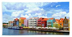 Pastel Building Coastline Of Caribbean Hand Towel