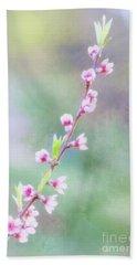 Pastel Painted Peach Blossoms Bath Towel