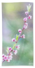 Pastel Painted Peach Blossoms Bath Towel
