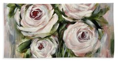 Pastel Pink Roses Hand Towel by Chris Hobel