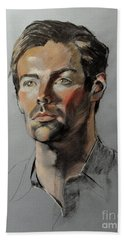 Pastel Portrait Of Handsome Guy Bath Towel