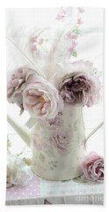 Bath Towel featuring the photograph Pastel Romantic Shabby Chic Pink Flowers In Watering Can - Romantic Cottage Floral Home Decor  by Kathy Fornal