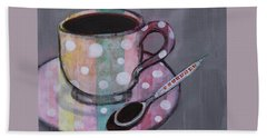 Hand Towel featuring the painting Pastel Stripes Polka Dotted Coffee Cup by Robin Maria Pedrero