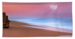 Pastel Sunset And Moonrise Over Hutchinson Island Beach, Florida. Hand Towel by Justin Kelefas