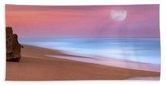 Pastel Sunset And Moonrise Over Hutchinson Island Beach, Florida. Bath Towel by Justin Kelefas