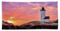 Pastel Sunset, Annisquam Lighthouse Bath Towel