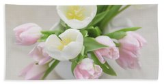Hand Towel featuring the photograph Pastel Tulips by Kim Hojnacki