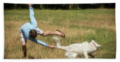 Pasture Ballet Human Interest Art By Kaylyn Franks   Hand Towel