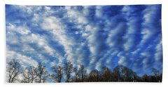 Pasture Field And Winter Sky Hand Towel by Thomas R Fletcher