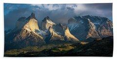 Patagonian Sunrise Bath Towel by Andrew Matwijec