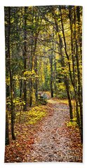 Path In Fall Forest Bath Towel