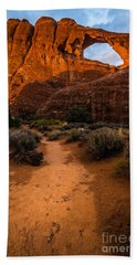 Hand Towel featuring the photograph Path To Skyline Arch At Sunset - Utah  by Gary Whitton