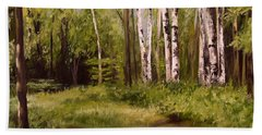 Hand Towel featuring the painting Path To The Birches by Laurie Rohner