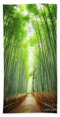 Pathway Through The Bamboo Grove Kyoto Hand Towel