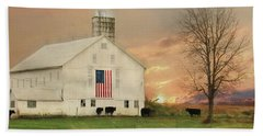 Patriotic Cattle Farm Bath Towel by Lori Deiter