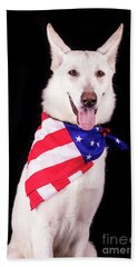 Patriotic Dog Hand Towel by Stephanie Hayes
