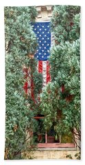 Hand Towel featuring the photograph Patriotic Georgetown Home by Lorella Schoales