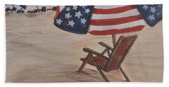 Hand Towel featuring the painting Patriotic Umbrella by Debbie Baker