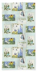 Bath Towel featuring the painting Pattern Butterflies Dragonflies Birds And Blue And Yellow Floral by Audrey Jeanne Roberts