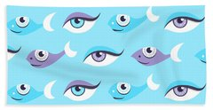 Pattern Of Blue Eyes And Fish In Sea Bath Towel
