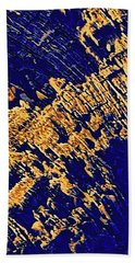 Tree Stump Pattern In Gold And Blue Bath Towel by Menega Sabidussi