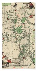 Paul Bunyan's Playground - Northern Minnesota - Vintage Illustrated Map - Cartography Bath Towel
