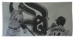 Hand Towel featuring the drawing Paul Konerko Collage by Melissa Goodrich