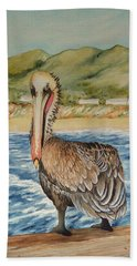 Hand Towel featuring the painting Paula's Pelican by Katherine Young-Beck