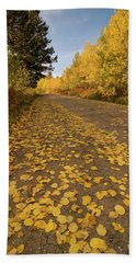 Bath Towel featuring the photograph Paved In Gold by Steve Stuller