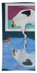 Hand Towel featuring the painting Paws And Effect by Phyllis Kaltenbach