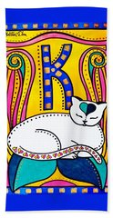 Bath Towel featuring the painting Peace And Love - Cat Art By Dora Hathazi Mendes by Dora Hathazi Mendes