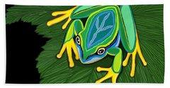 Peace Frog On Leaf Bath Towel