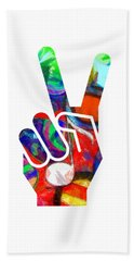 Bath Towel featuring the digital art Peace Hippy Paint Hand Sign by Edward Fielding