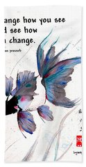 Peace In Change With Zen Proverb Hand Towel