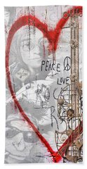 Peace Love Rocknroll Hand Towel