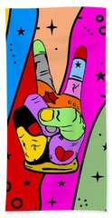 Peace Popart By Nico Bielow Hand Towel