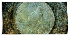 Bath Towel featuring the digital art Peace Silver Dollar Reverse by Randy Steele