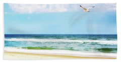 Peaceful Beach With Seagull Soaring Bath Towel