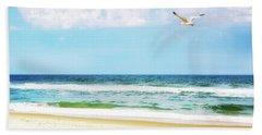 Peaceful Beach With Seagull Soaring Bath Towel