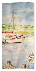 Hand Towel featuring the painting Peaceful Harbor by Marilyn Zalatan