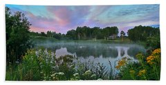 Peaceful Sunrise At Lake. Altai Bath Towel
