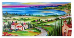Peaceful Village By The Lake Hand Towel
