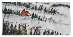Hand Towel featuring the painting Peaceful Winter Daybreak by Jeffrey Koss