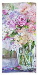 Bath Towel featuring the painting Peach And Pink Bouquet by Jennifer Beaudet