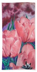 Perennially Perfect  Peach Pink Tulips Hand Towel