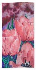 Perennially Perfect  Peach Pink Tulips Bath Towel