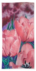 Peach Pink Tulips Bath Towel by Sigrid Tune