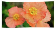 Bath Towel featuring the photograph Peach Poppies by Sally Weigand