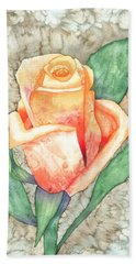 Hand Towel featuring the painting Peach Rose by Kristen Fox